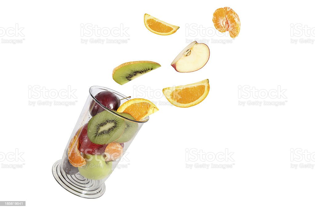 Healthy eating. Various fruit fly in the blender jar. royalty-free stock photo