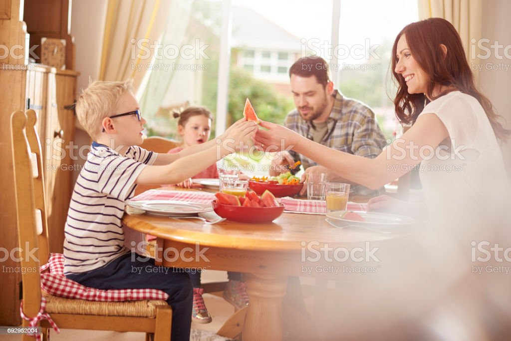 healthy family lunch stock photo