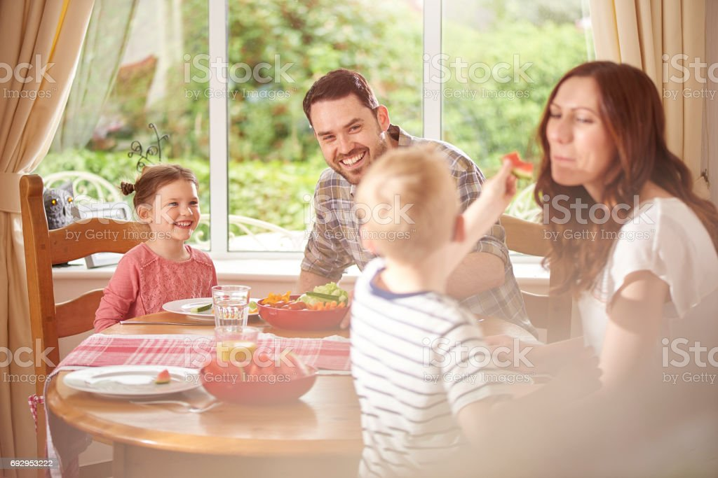 healthy family meal stock photo