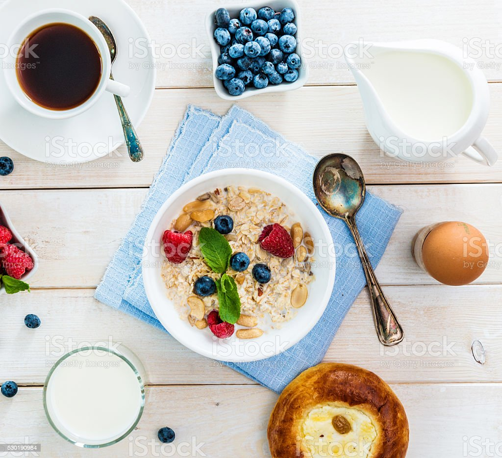 healthy fitness breakfast stock photo