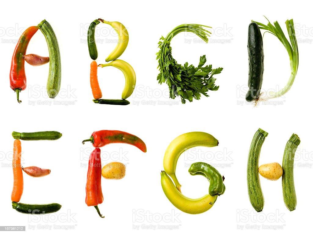 XXL Healthy Food Alphabet royalty-free stock photo