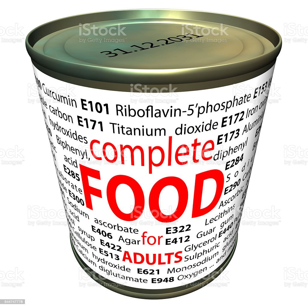 Healthy food and chemistry - food additives stock photo