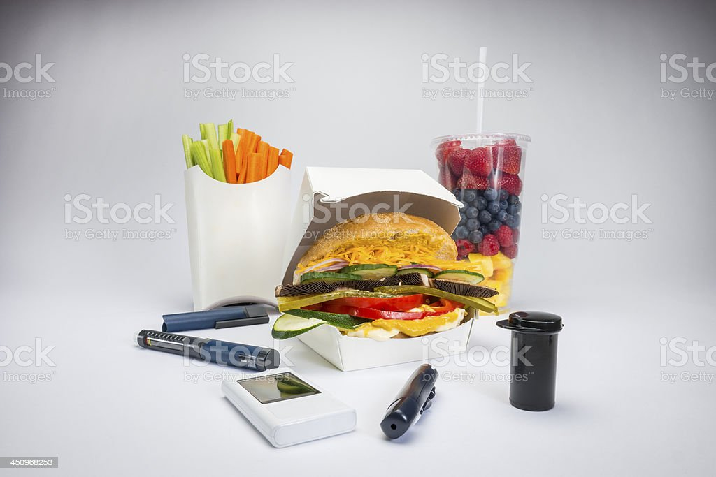 Healthy food and diabetes medical devices royalty-free stock photo