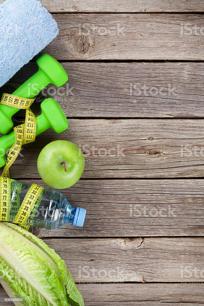 Healthy food and fitness concept stock photo