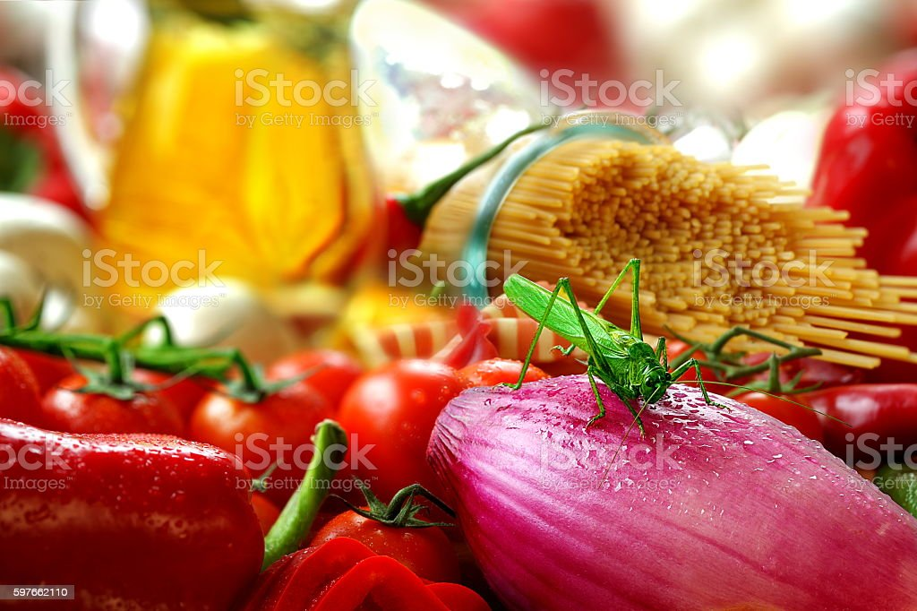 Healthy food and fresh organic vegetables and fruits, healthy cuisine and harvest time stock photo