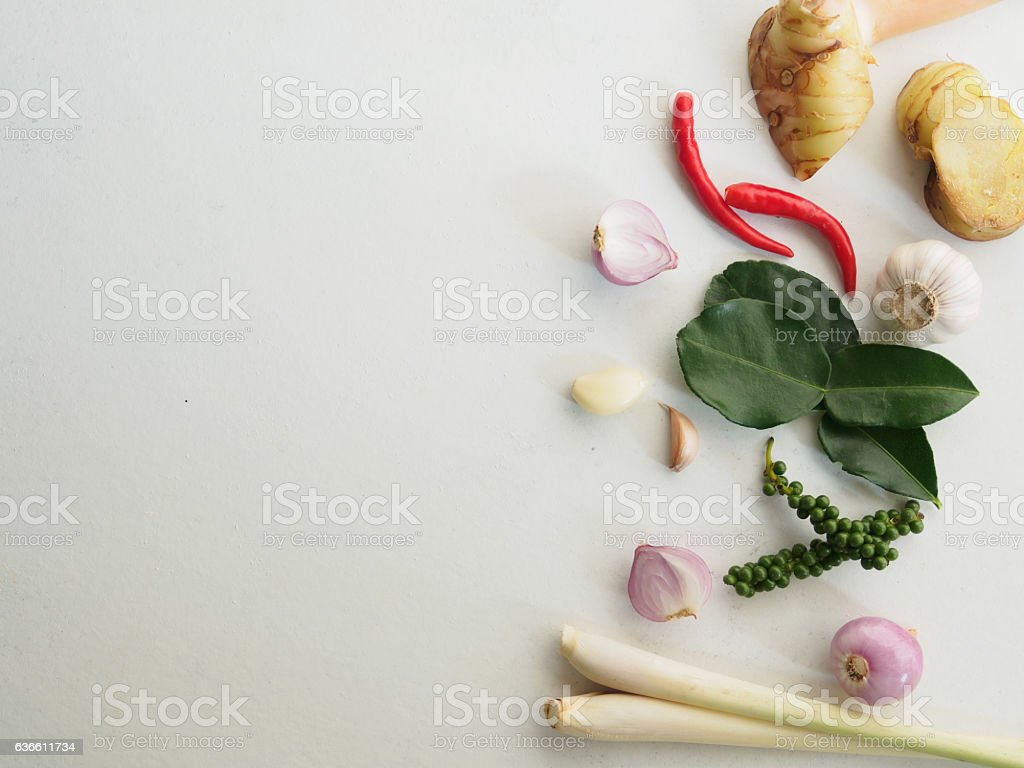 Healthy food and herb background with various vegetables ingredients stock photo