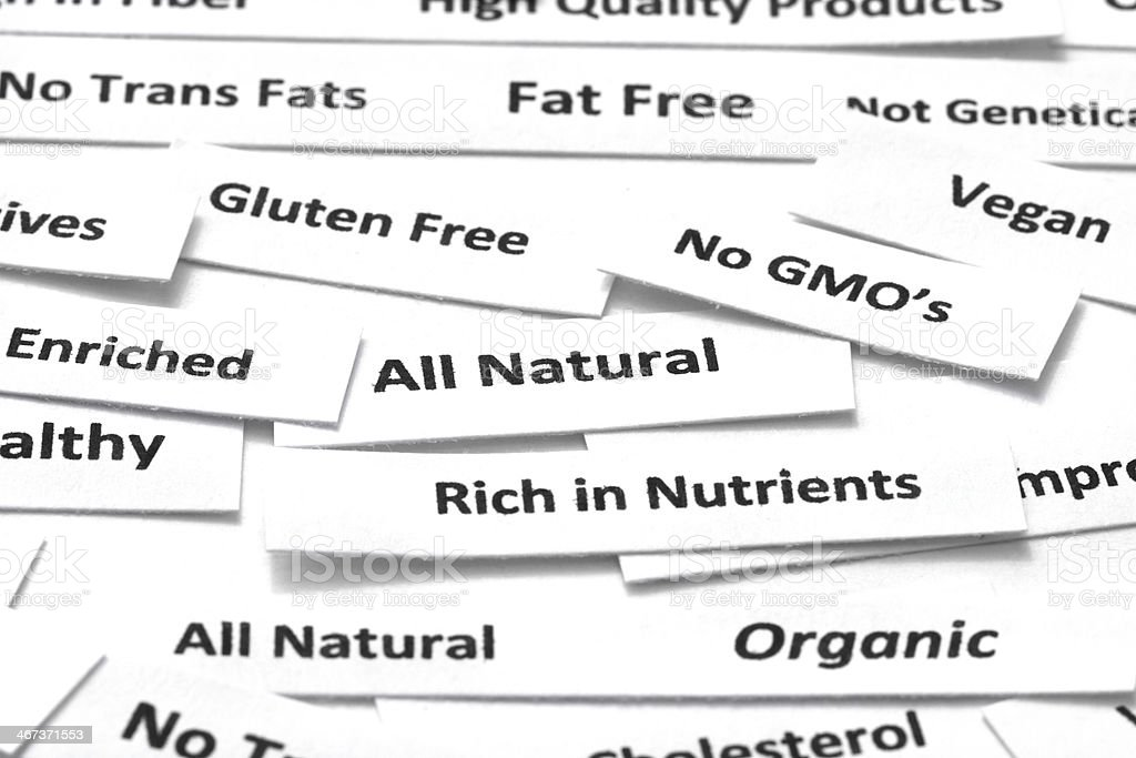 Healthy food attributes stock photo