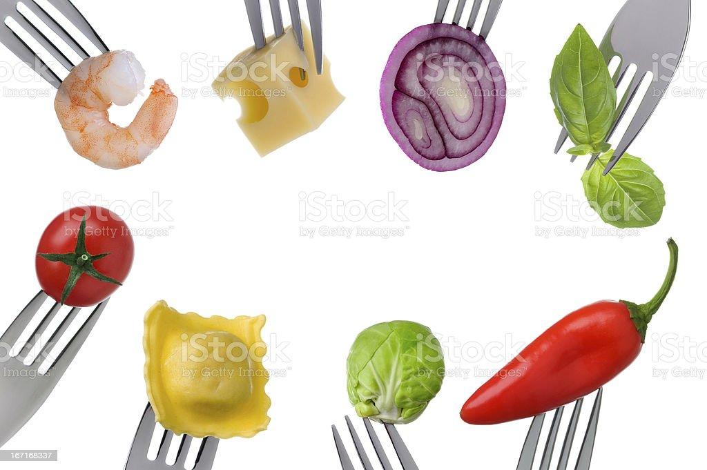 healthy food border on white stock photo