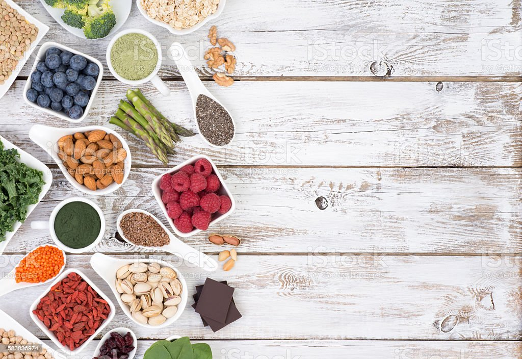 Healthy food called super foods stock photo