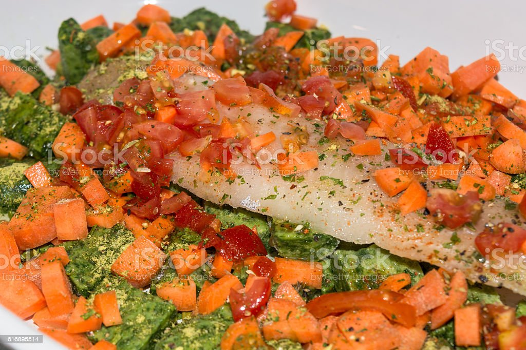 Healthy food, compilation fish with vegetables stock photo