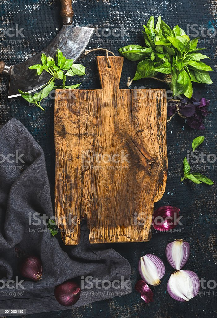 Healthy food cooking background over grunge dark blue plywood texture stock photo