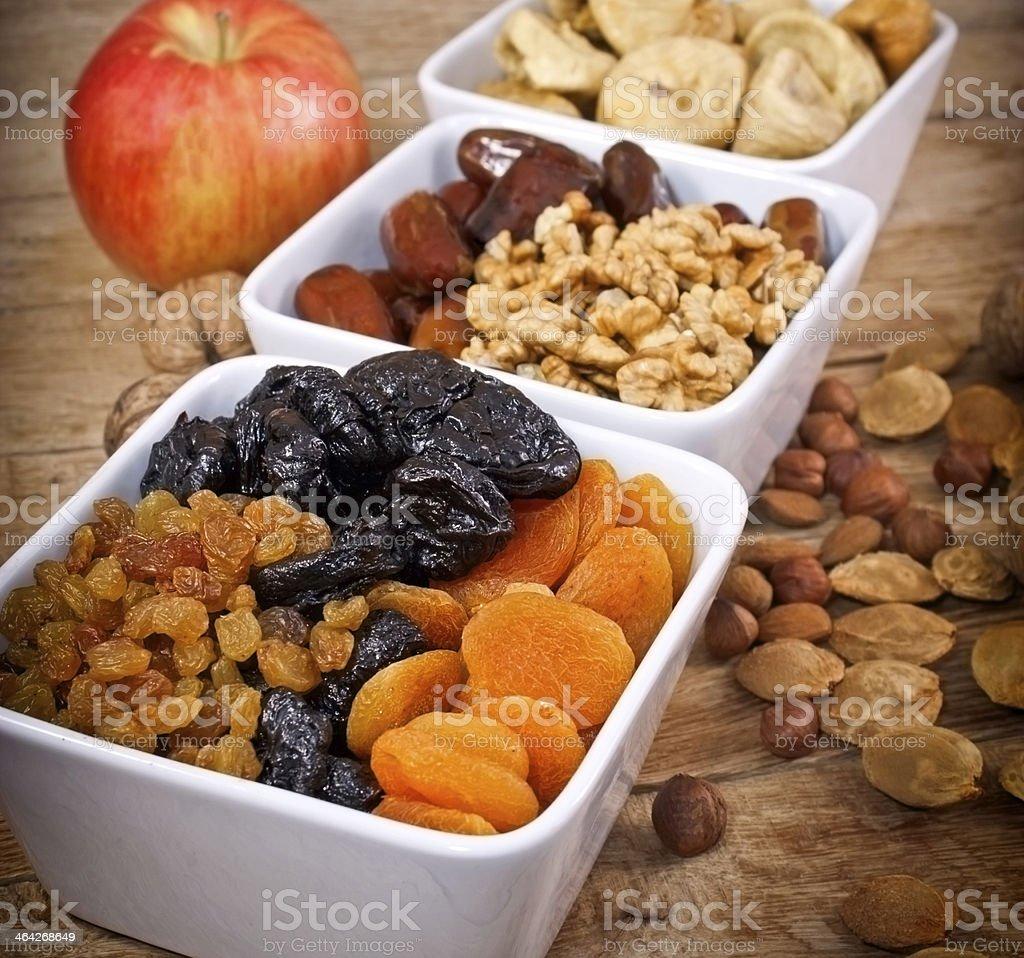 Healthy food - Dried organic fruits stock photo