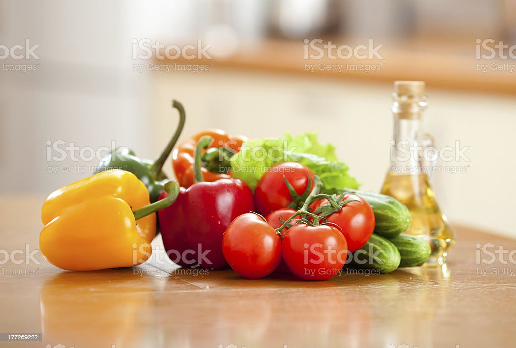 Healthy food fresh vegetables on the table in kitchen royalty-free stock photo