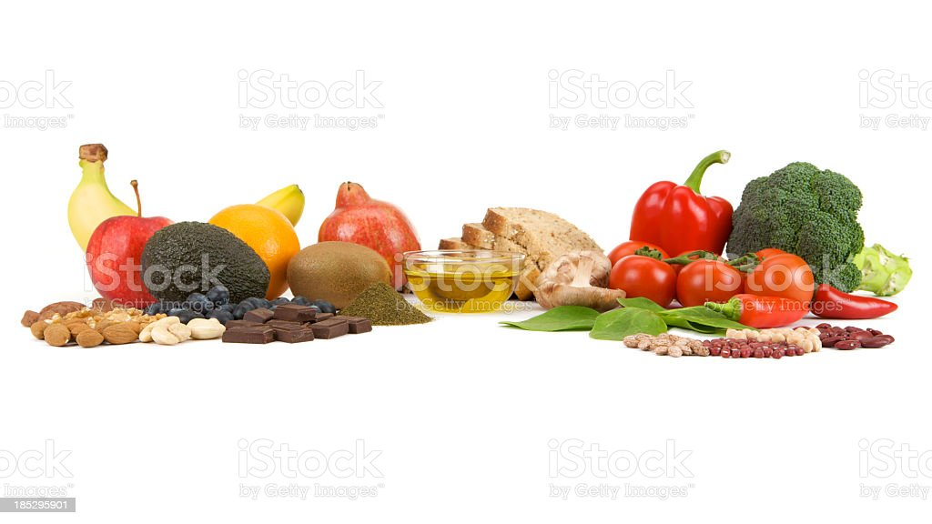 Healthy food groups often called Superfoods on a white background stock photo