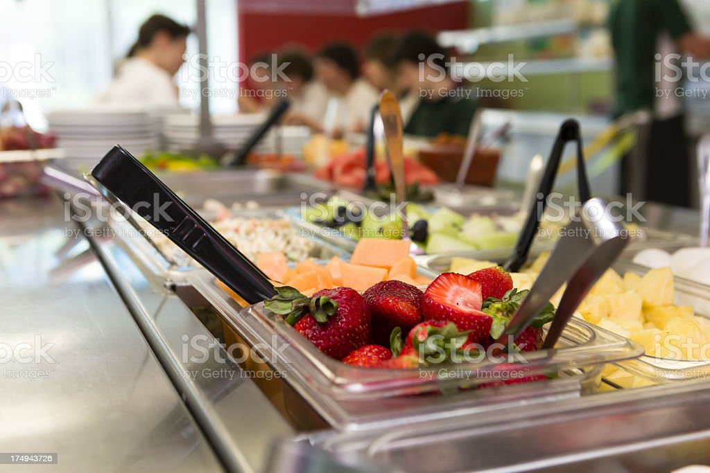 Healthy food in a cafeteria stock photo