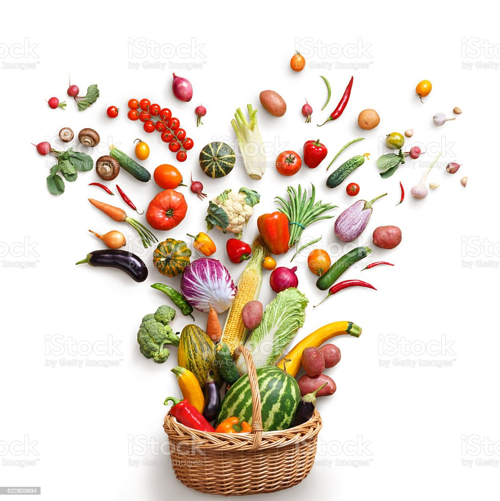 Healthy food in basket. stock photo