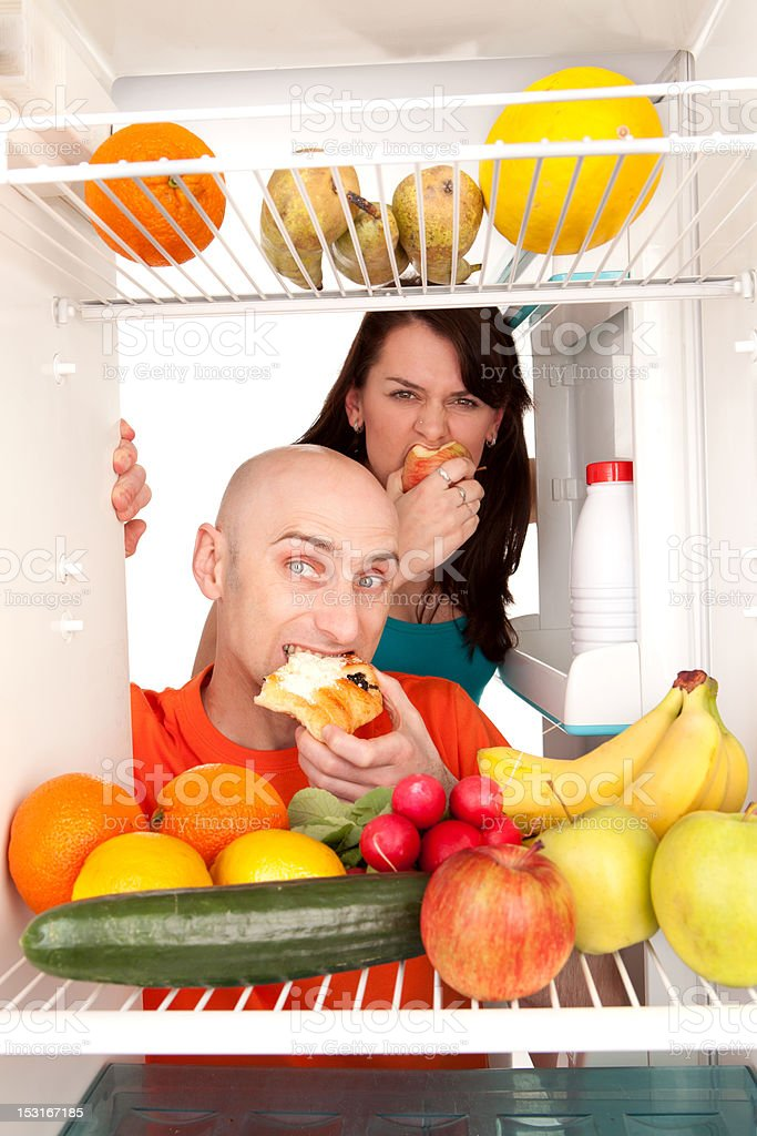 Healthy food in fridge royalty-free stock photo