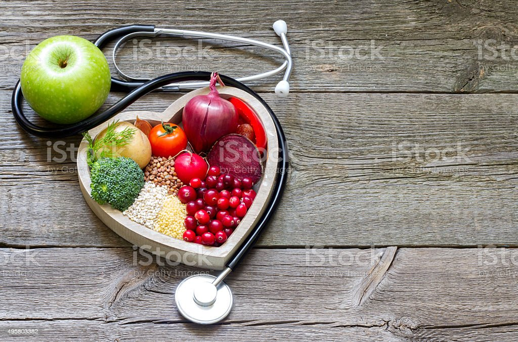 Healthy food in heart and cholesterol diet concept stock photo