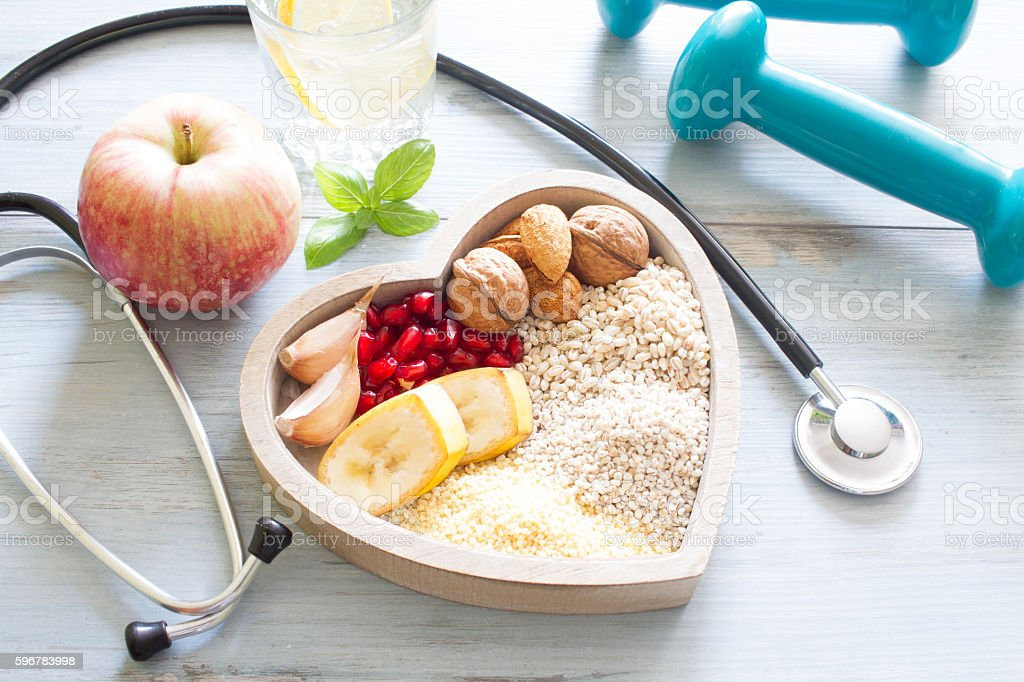 Healthy food in heart and water diet  concept stock photo