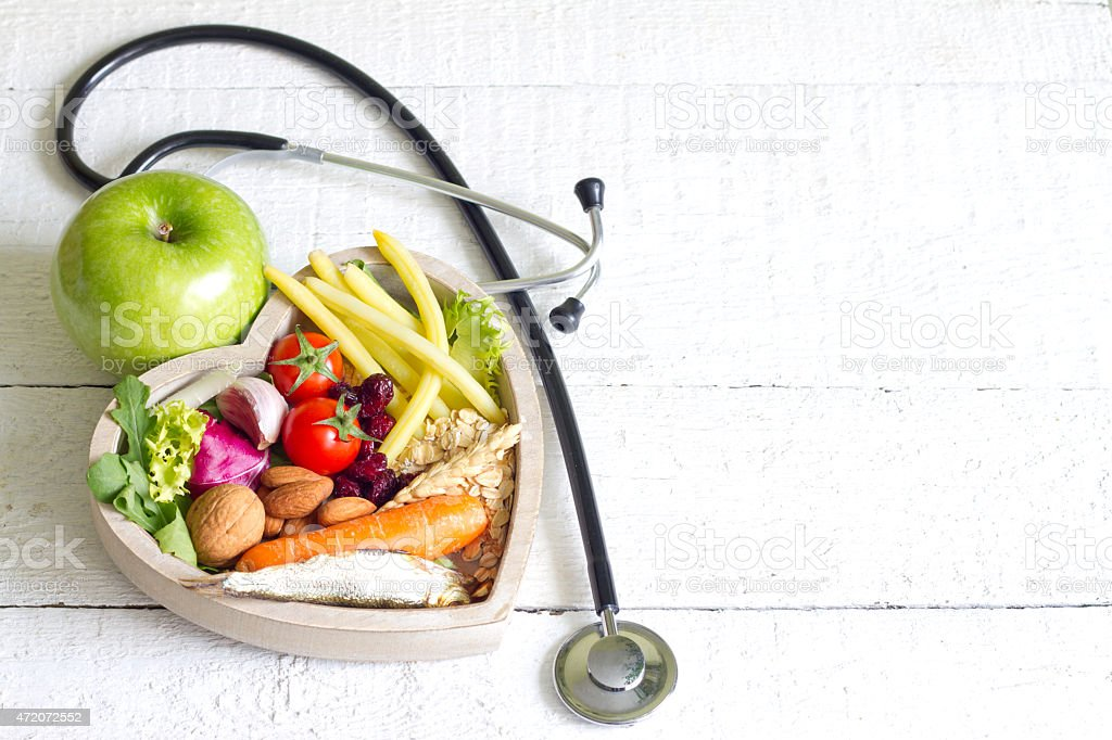 Healthy food in heart diet abstract stock photo