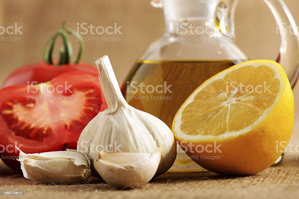 Healthy food ingeridients and olive oil royalty-free stock photo