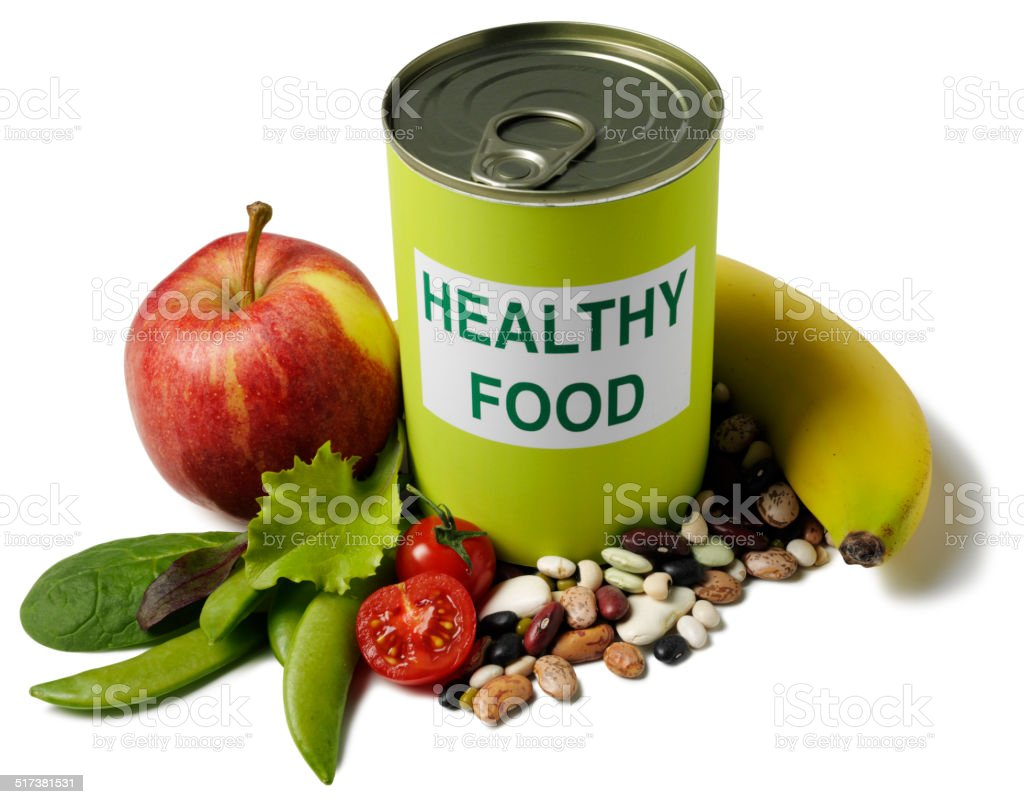 Healthy Food Label on a Tin with Fruit and Vegetables stock photo