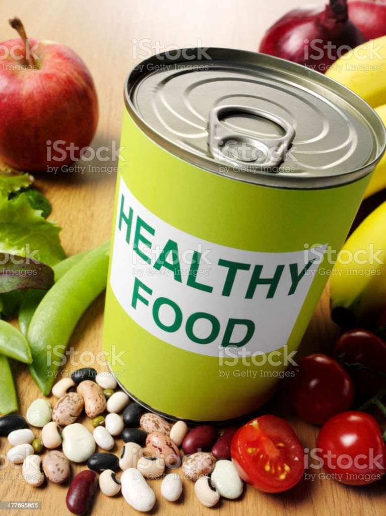 Healthy Food on a Can Label with Fruit and Vegetables stock photo