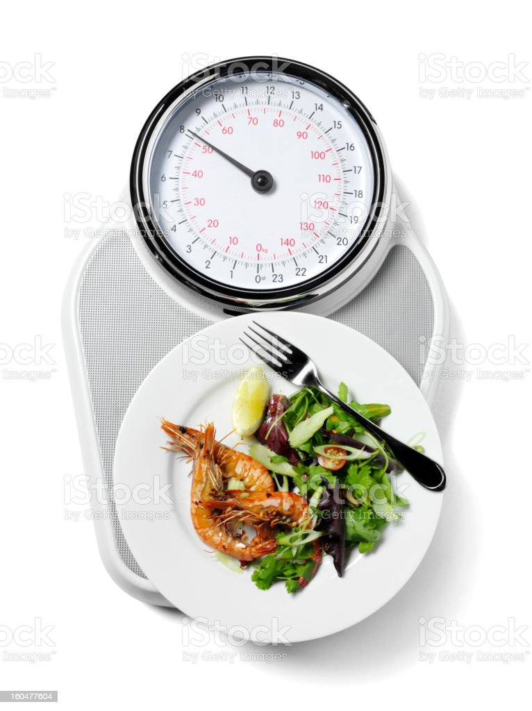 Healthy Food on Scales royalty-free stock photo