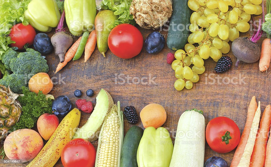 Healthy food - organic fruits and vegetables stock photo