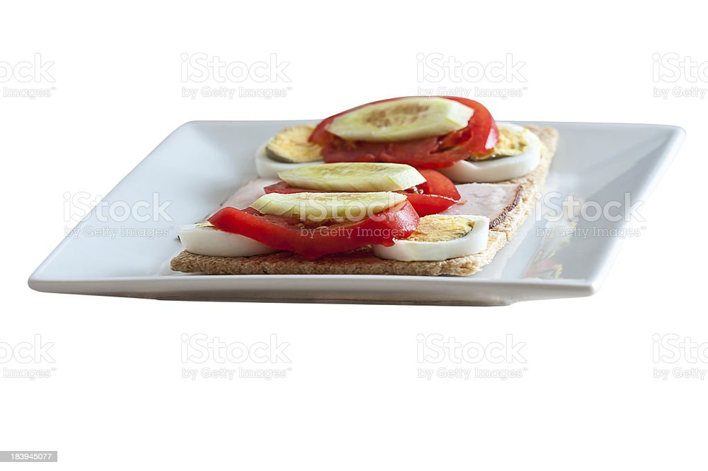 healthy food - sandwiches on crispy bread stock photo
