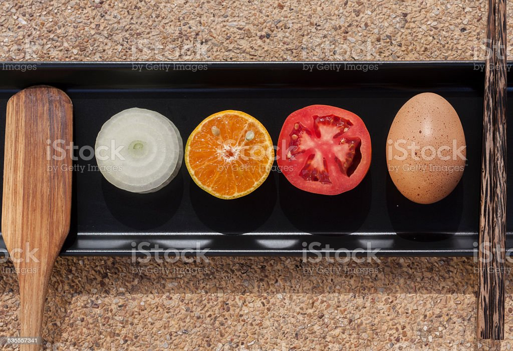 Healthy food set on the black tray royalty-free stock photo
