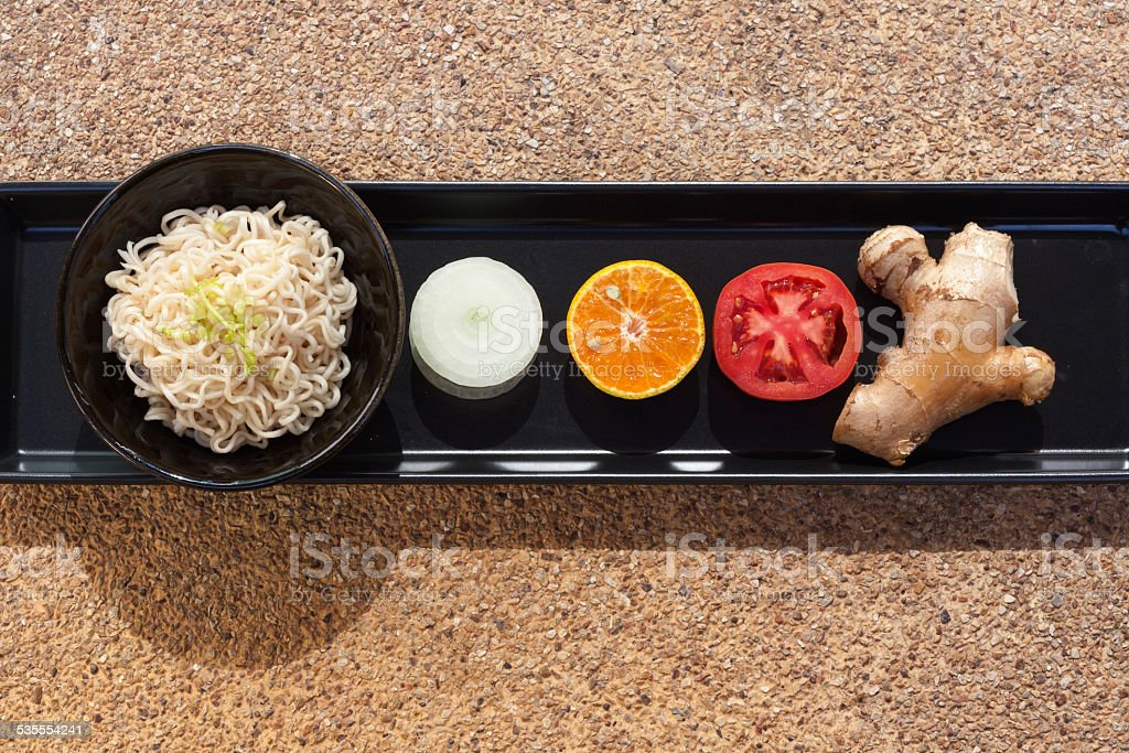 Healthy food set with noodles royalty-free stock photo