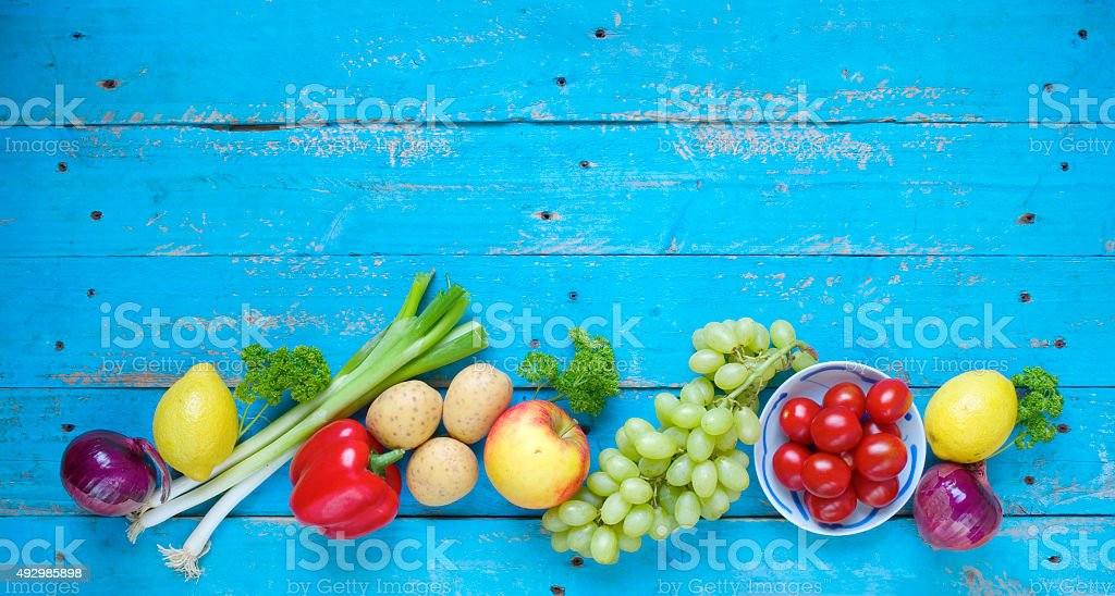 Healthy food. Vegetables and fruit stock photo