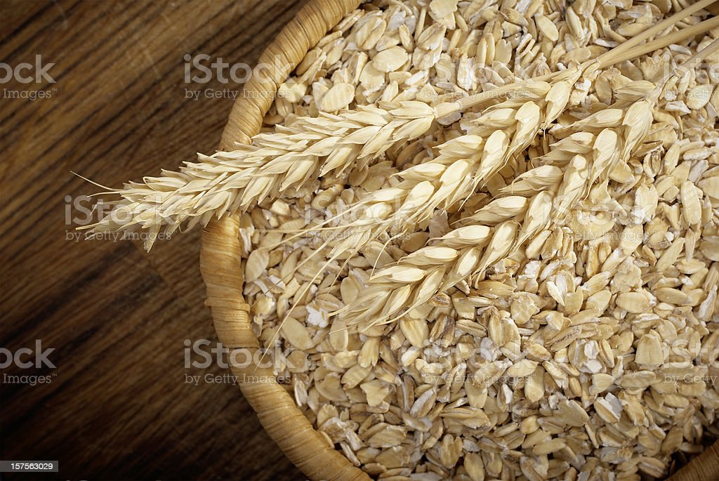 Healthy food. Whole grain Oats and cereal spikelets stock photo
