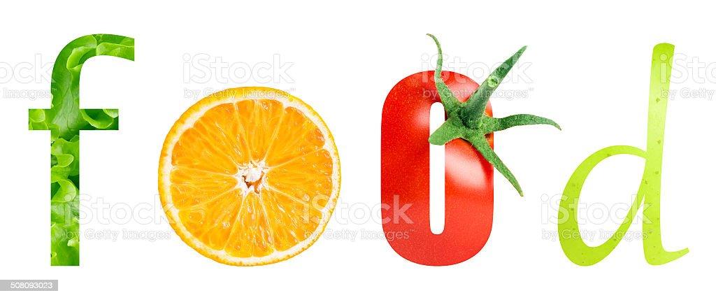 Healthy food word stock photo