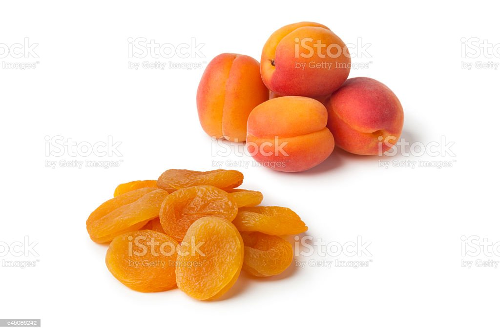 Healthy fresh and dried apricot fruit stock photo