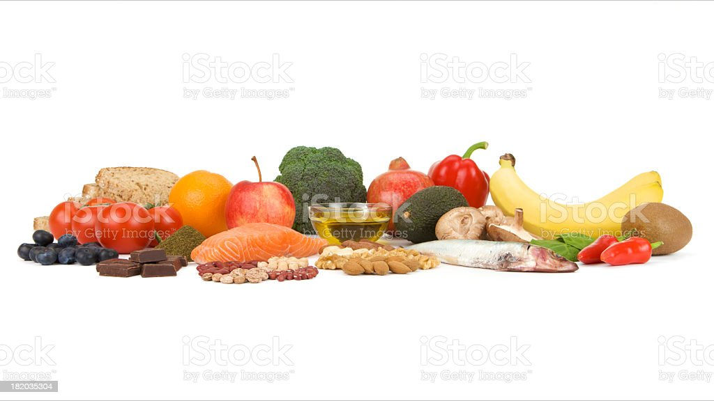 Healthy fresh food groups known as Superfoods on white background stock photo