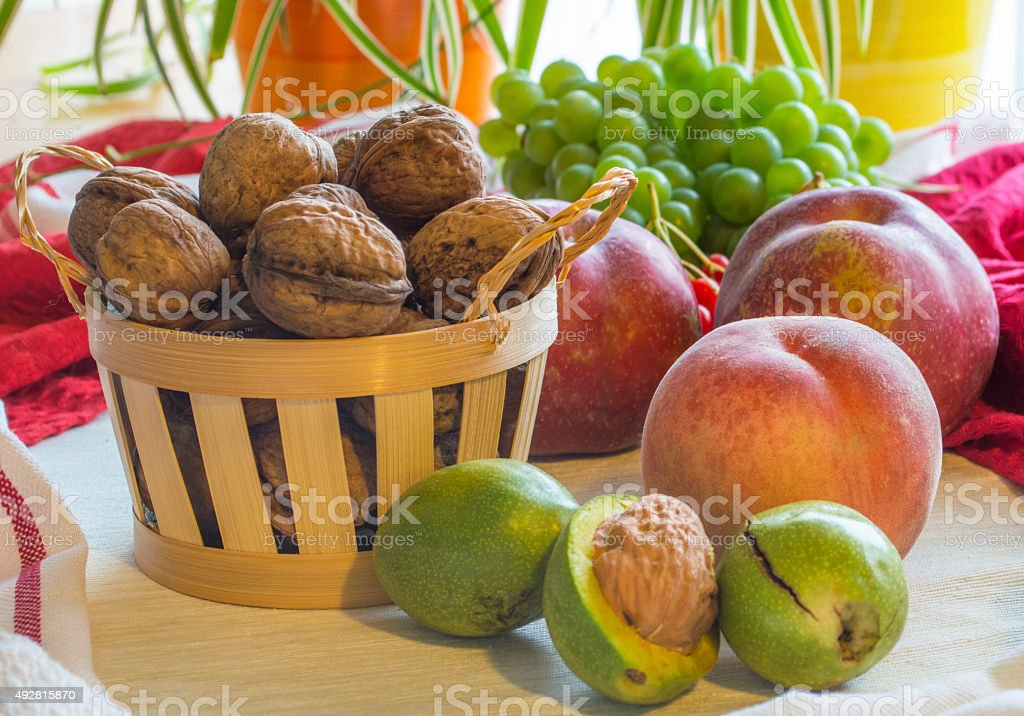 Healthy fresh fruits on the table. stock photo