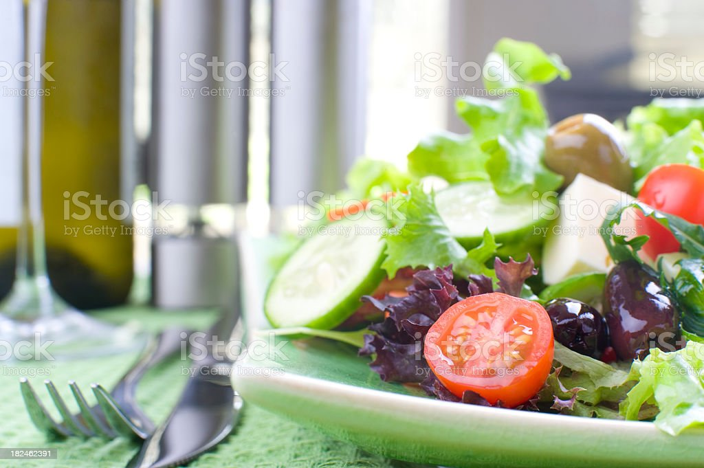 Healthy fresh garden salad stock photo