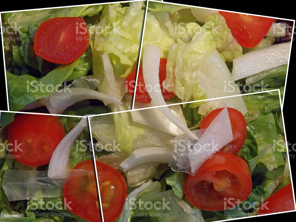Healthy Fresh Mixed Greens Salad - Multiple Image Collage stock photo