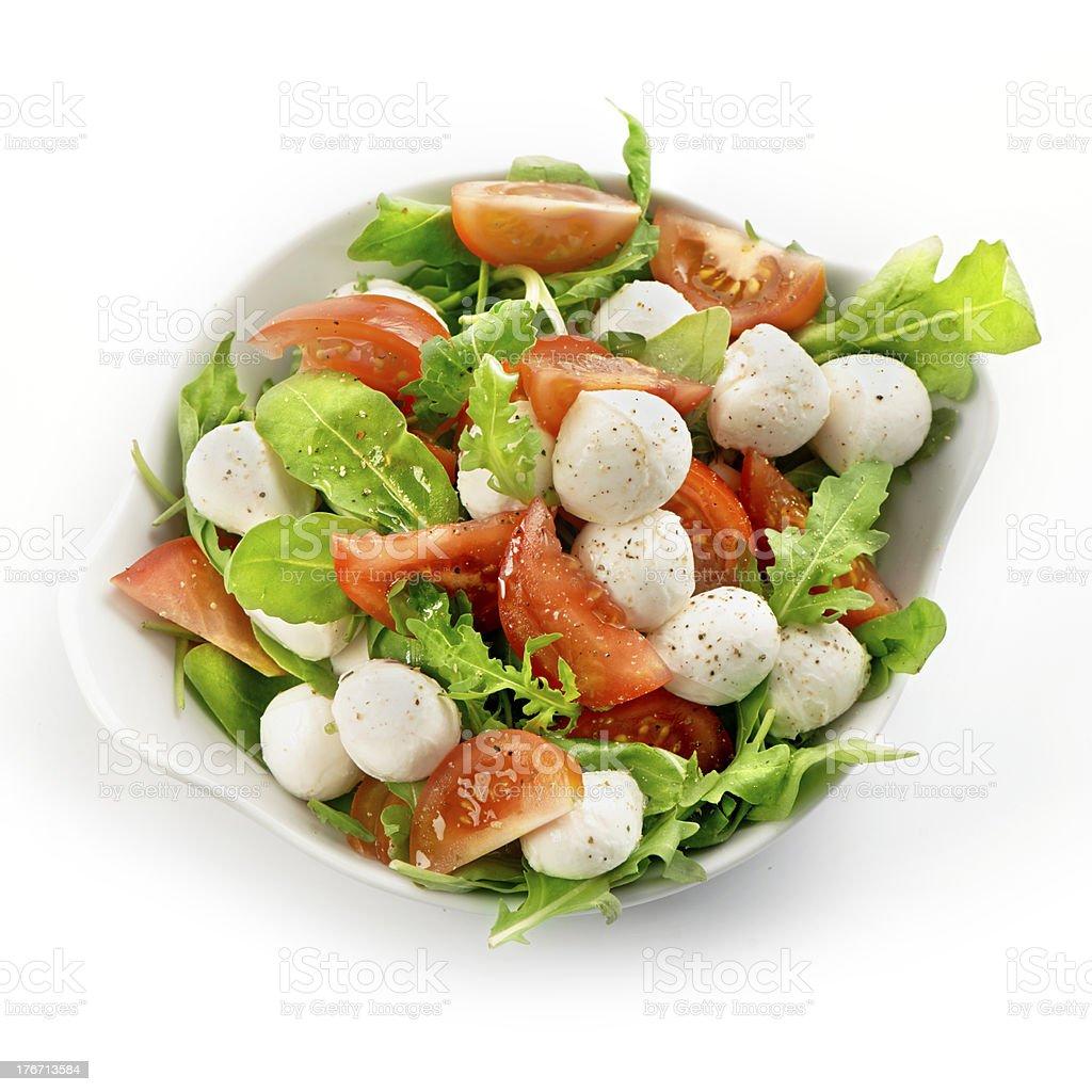 healthy fresh rucola salad with mozzarella and tomato slices royalty-free stock photo
