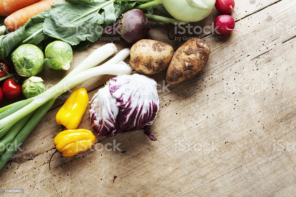 healthy fresh vegetable on wood royalty-free stock photo