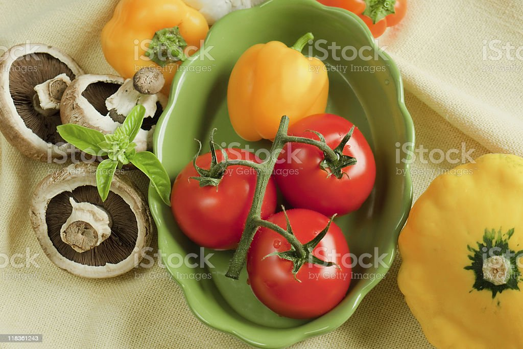 Healthy fresh vegetables on cloth royalty-free stock photo