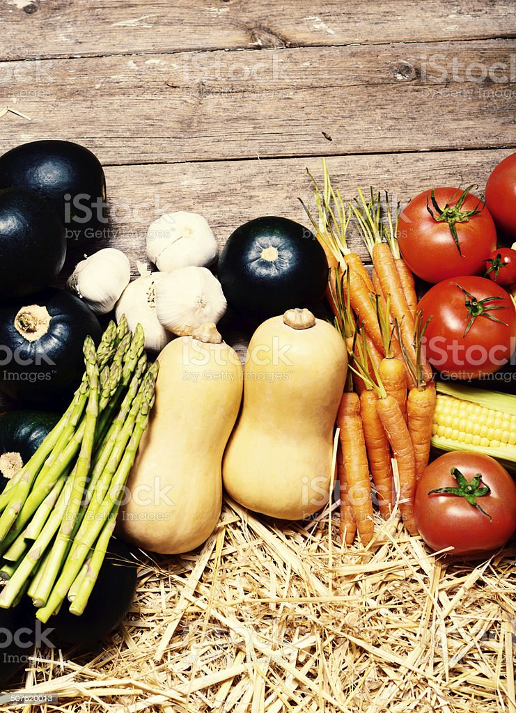Healthy fresh vegetables with wood as border royalty-free stock photo