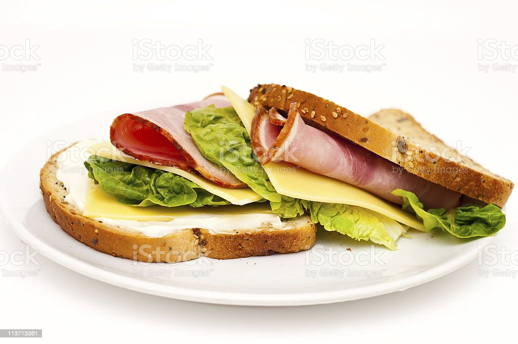 healthy, freshly made ham sandwich royalty-free stock photo