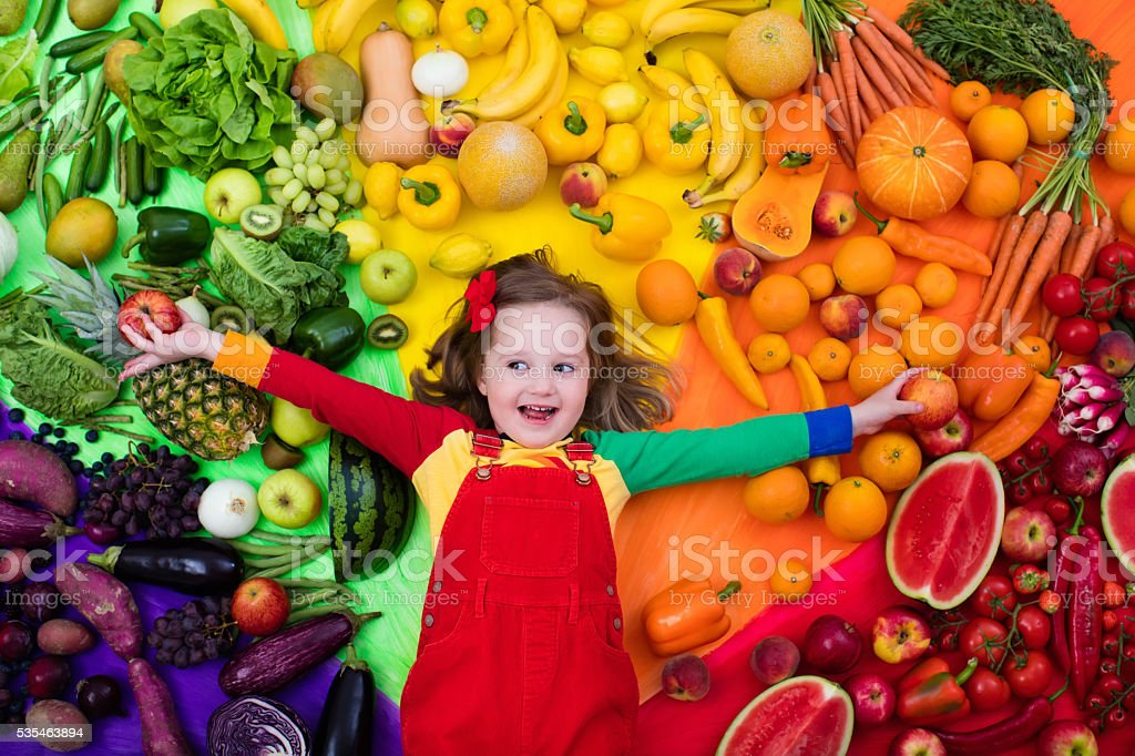 Healthy fruit and vegetable nutrition for kids stock photo