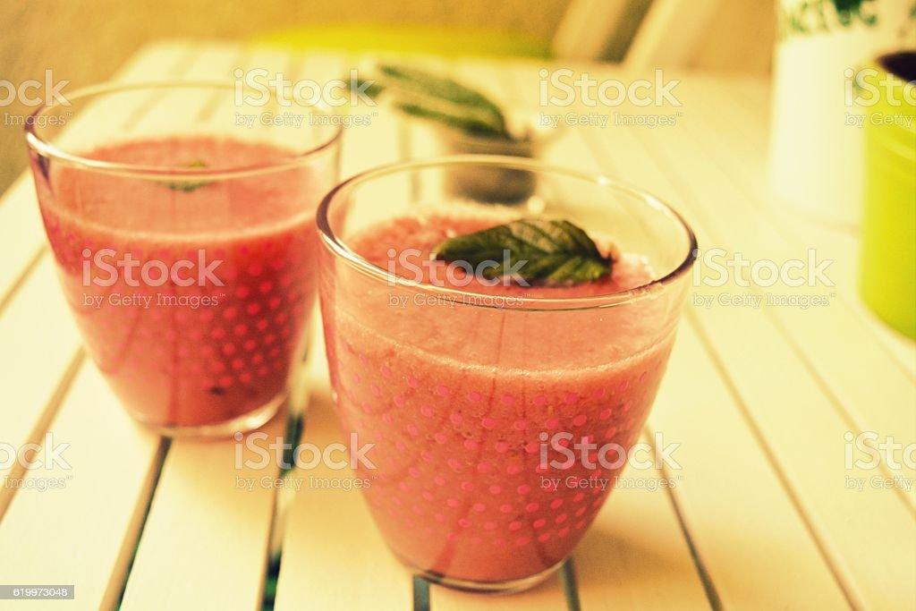 Healthy fruit smoothies stock photo