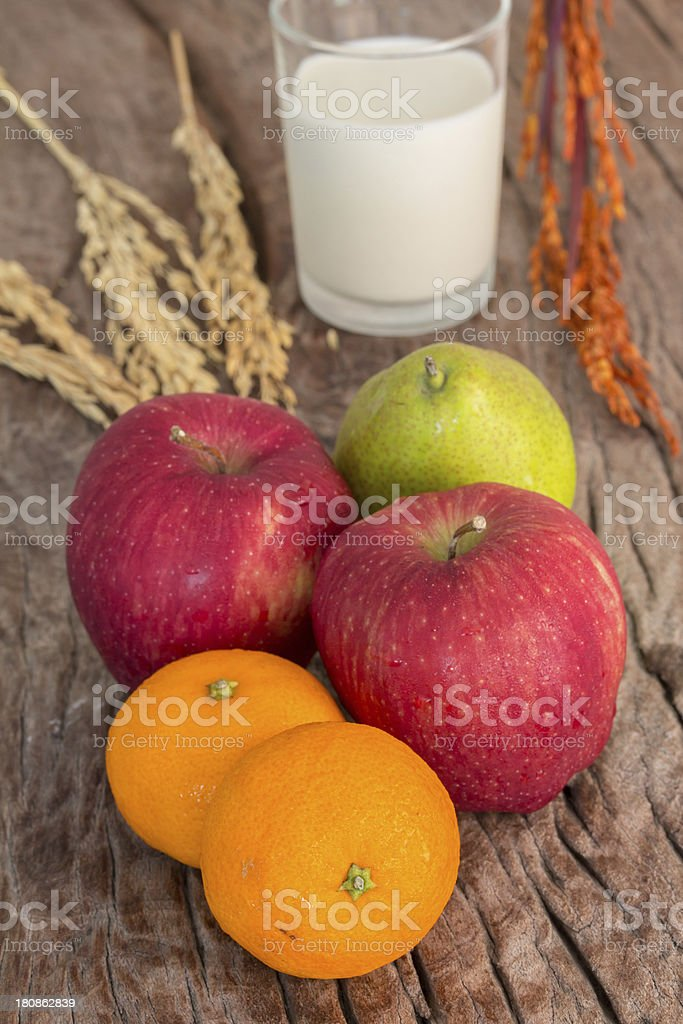 healthy fruits and milk royalty-free stock photo