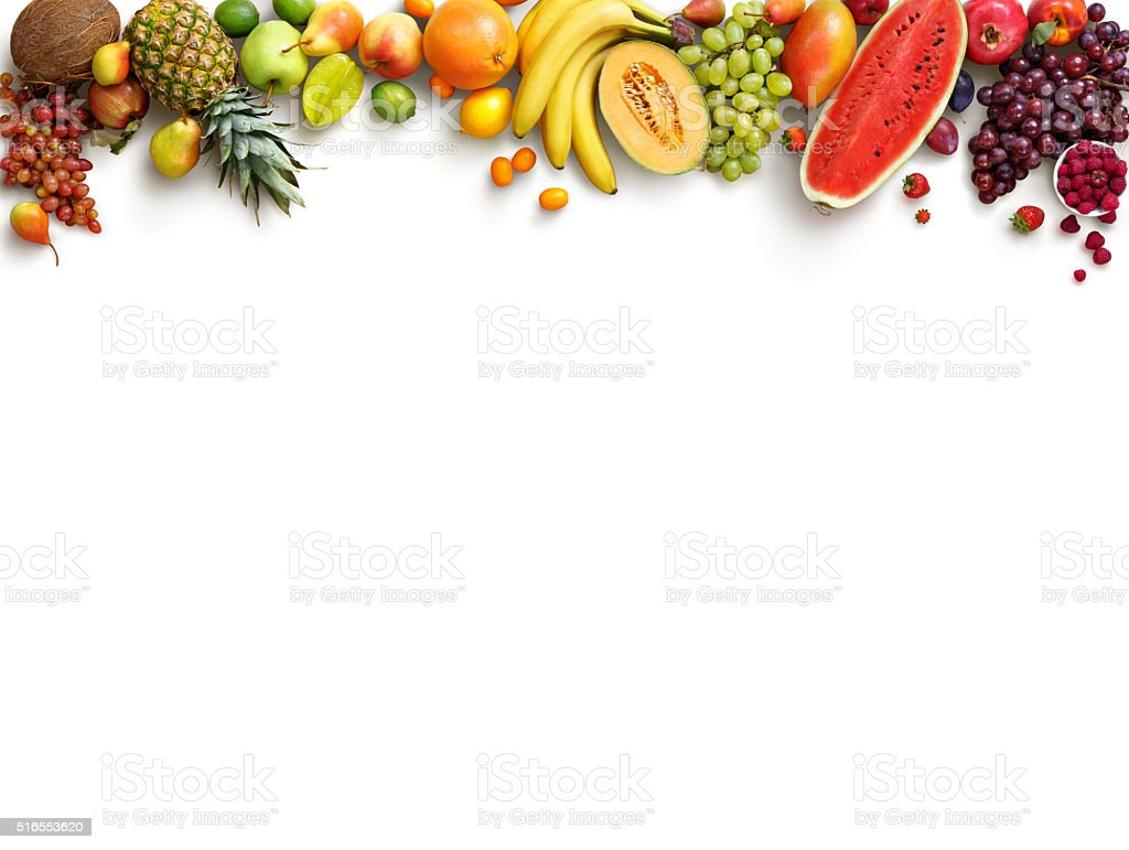 Food background studio photo of different fruits and vegetables - Healthy Fruits Background Royalty Free Stock Photo