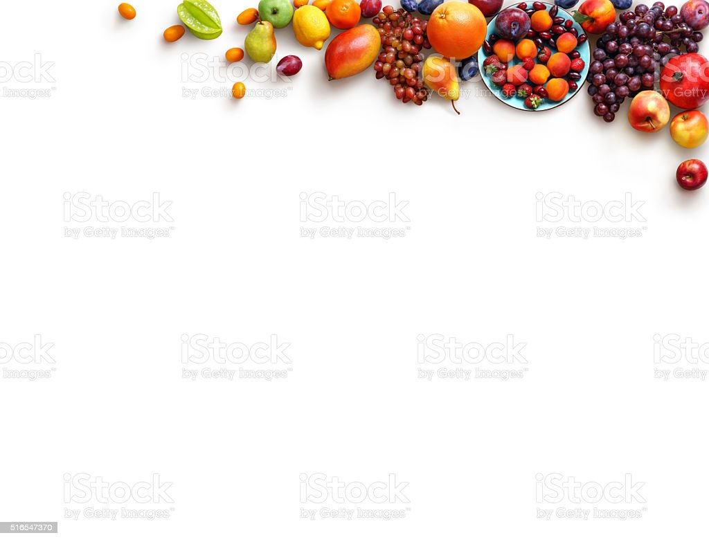Healthy fruits background. Studio photo of different fruits. stock photo